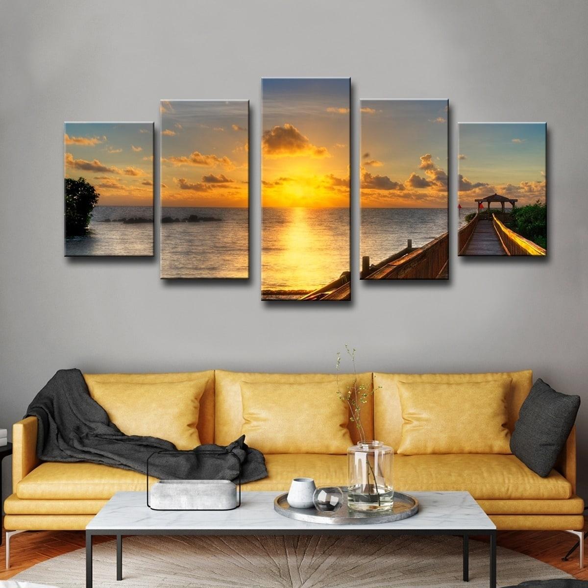 Shop Havenside Home Key's Sunrise' 5-Piece Set Canvas Wall Art inside Overstock Wall Art (Image 10 of 20)