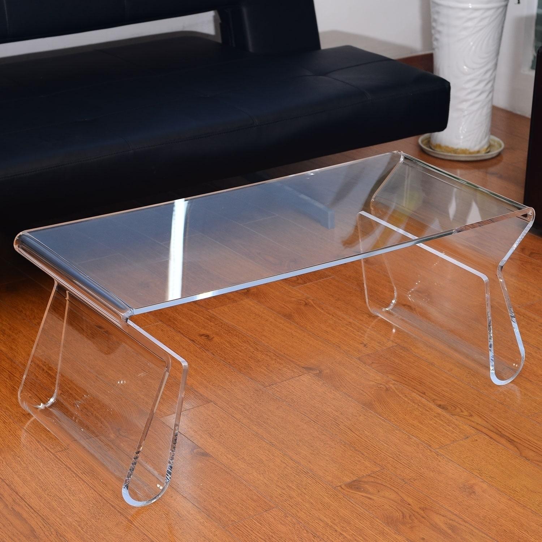 "Shop Homcom 38"" Modern Acrylic Coffee Table - Free Shipping Today with Modern Acrylic Coffee Tables (Image 28 of 30)"