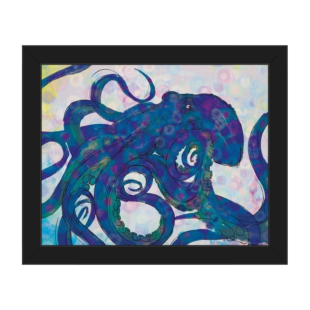 Shop Indigo Octopus Black Frame Canvas Horizontal Wall Art - On Sale intended for Octopus Wall Art (Image 17 of 20)