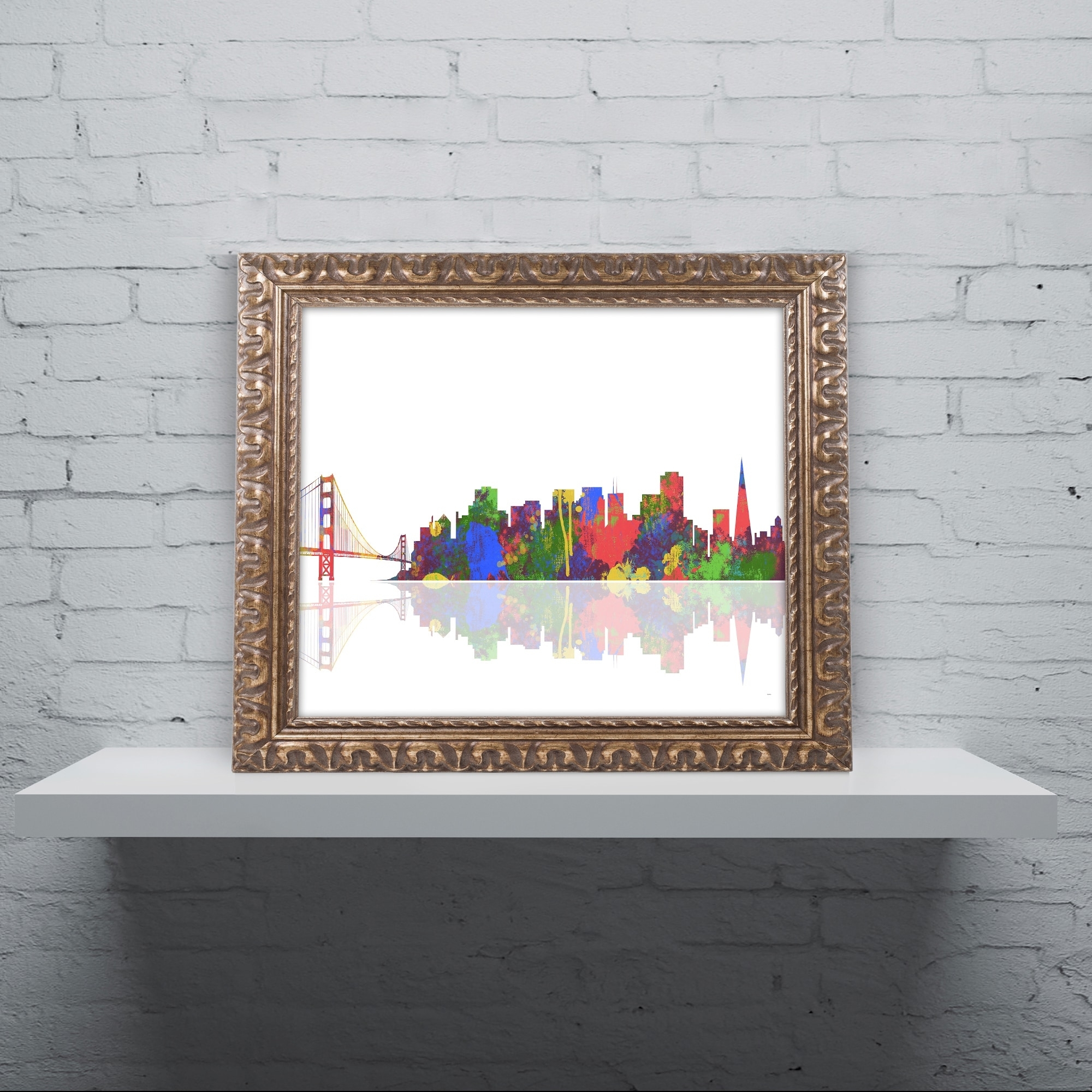 Shop Marlene Watson 'san Francisco California Skyline' Gold Ornate throughout California Wall Art (Image 17 of 20)
