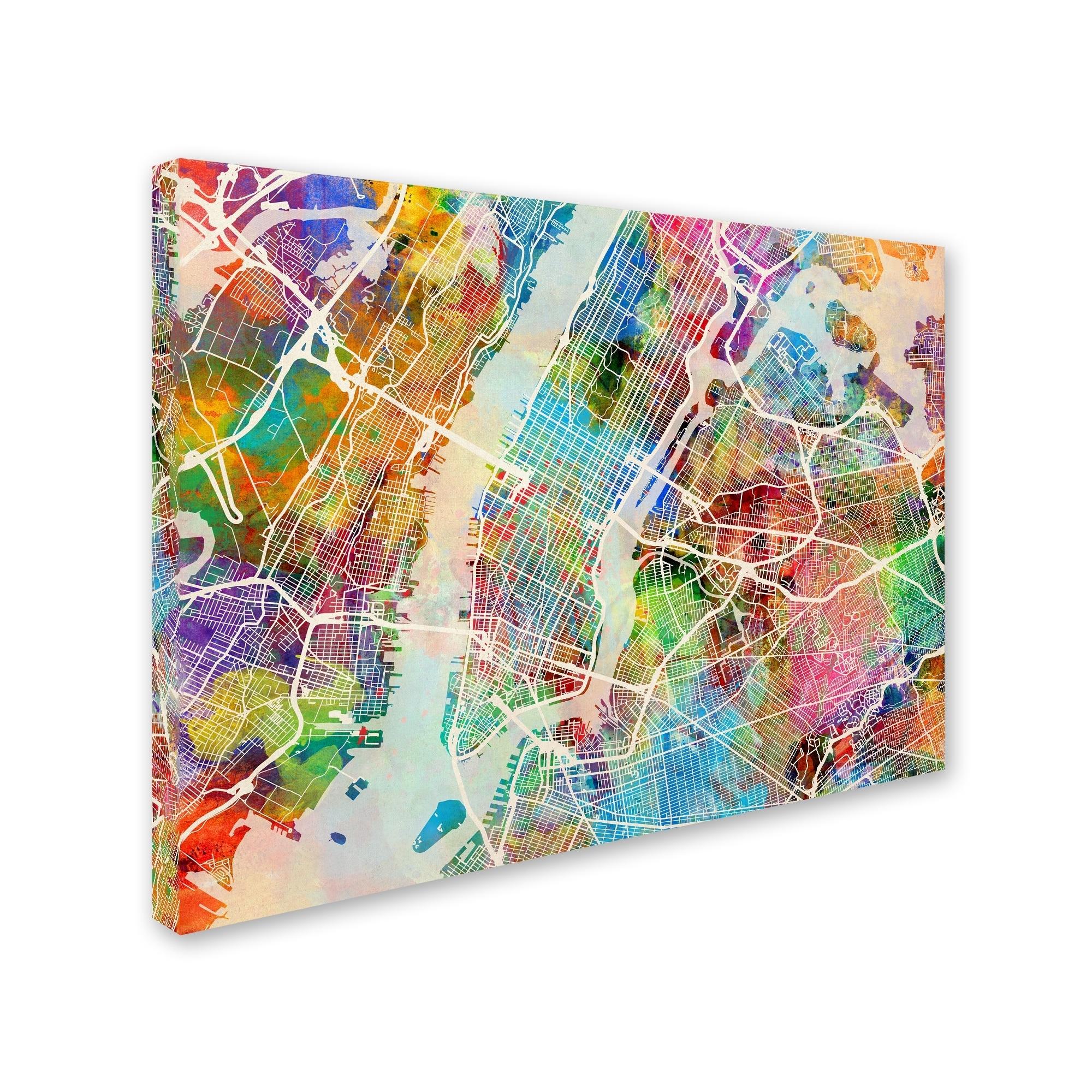 Shop Michael Tompsett 'new York City Street Map' Canvas Wall Art Inside New York City Map Wall Art (View 16 of 20)