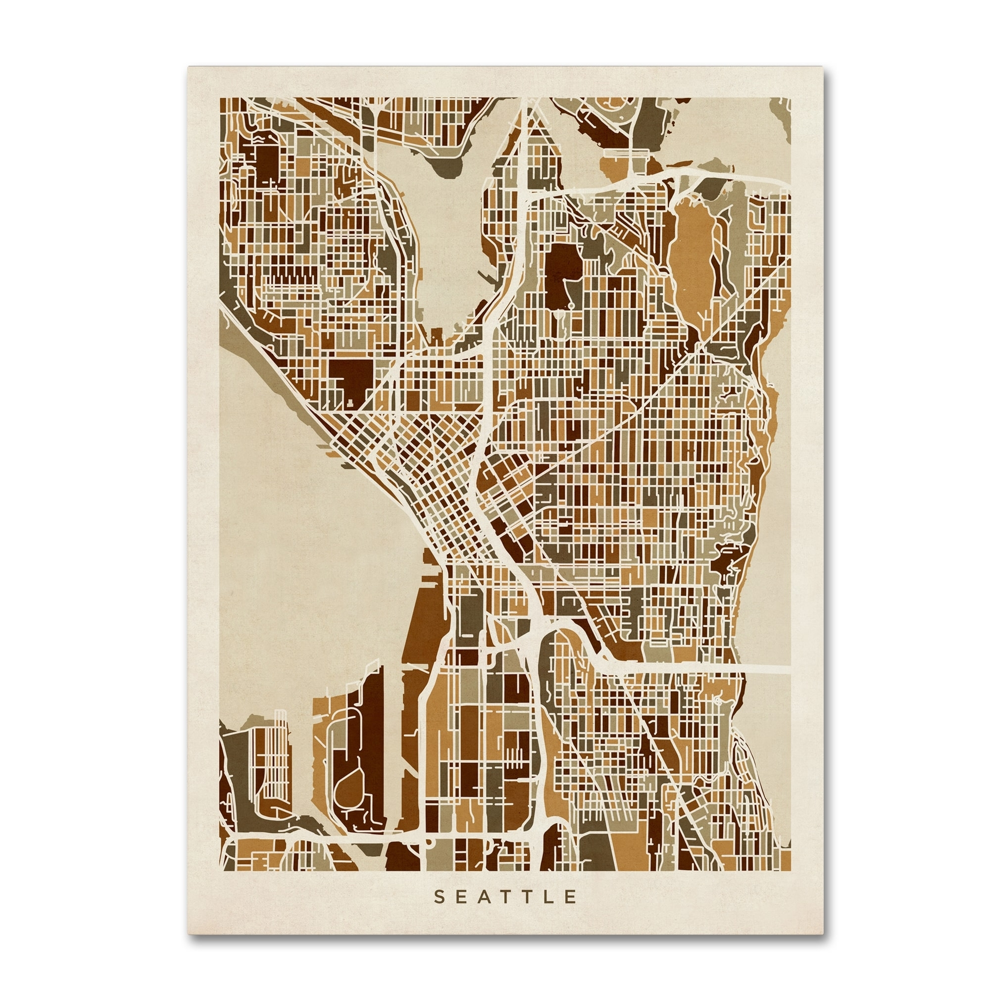 Shop Michael Tompsett 'seattle Washington Street Map Ii' Canvas Wall Within Seattle Map Wall Art (View 17 of 20)