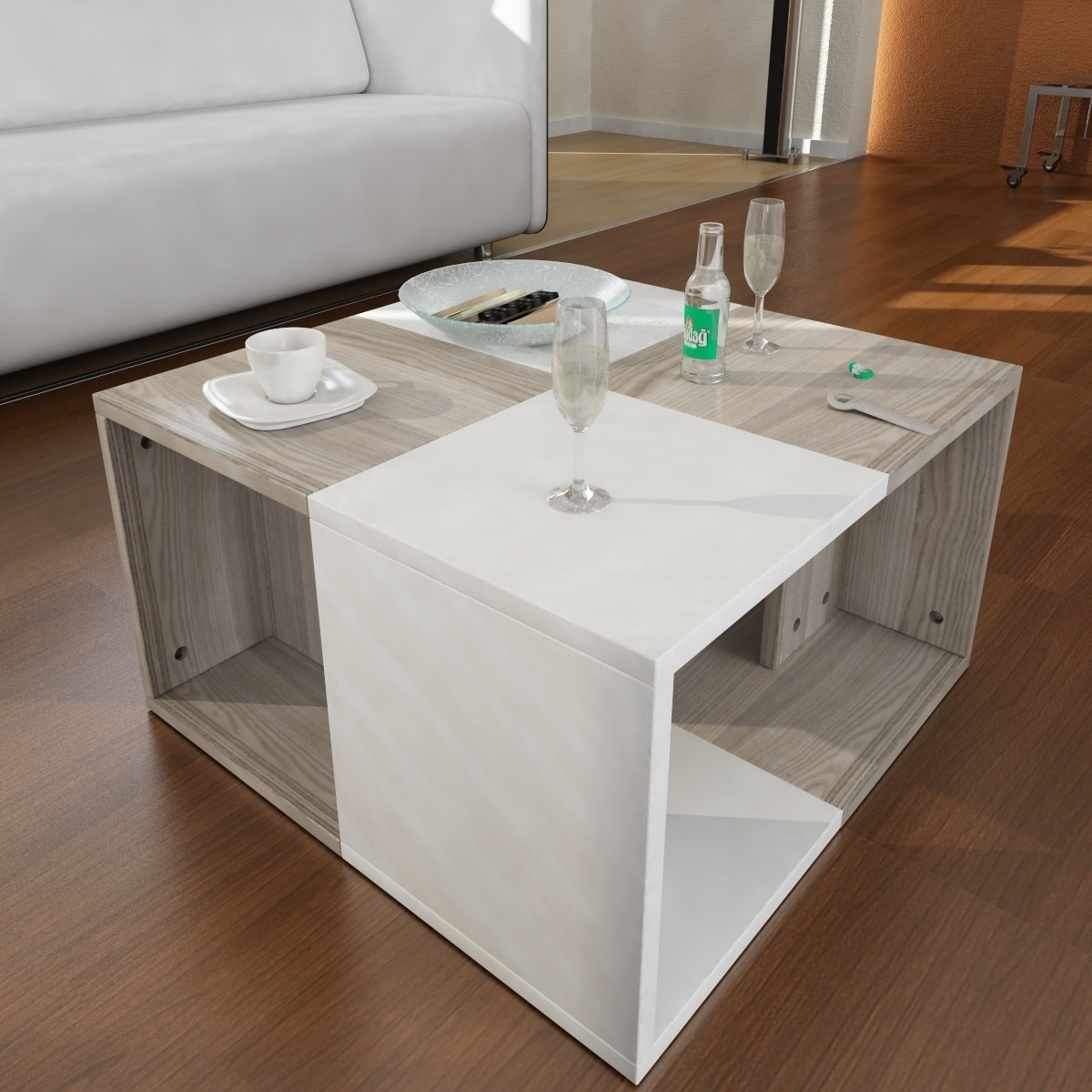 Shop Modern Minimalist Chestnut 23-Inch X 13-Inch X 23-Inch Coffee with Minimalist Coffee Tables (Image 28 of 30)