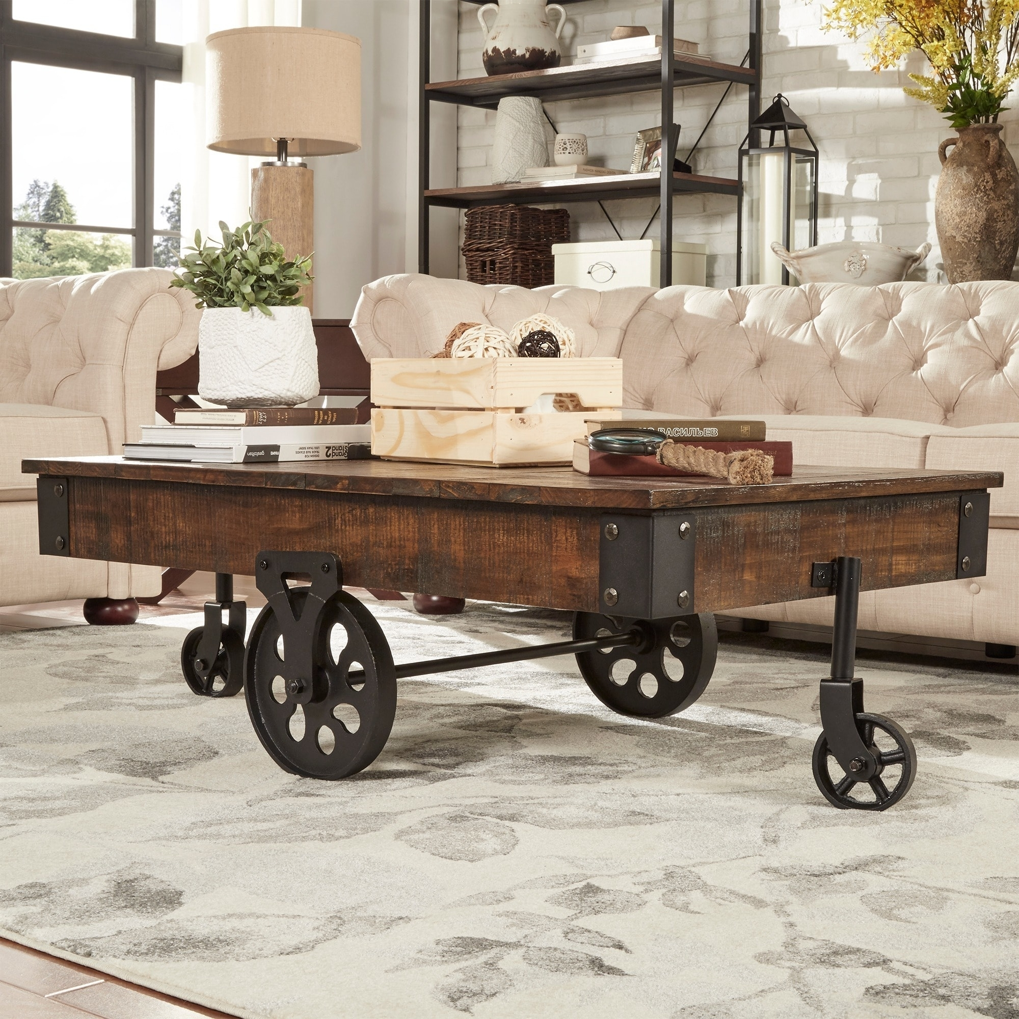 Shop Myra Vintage Industrial Modern Rustic 47-Inch Coffee Table intended for Modern Rustic Coffee Tables (Image 28 of 30)