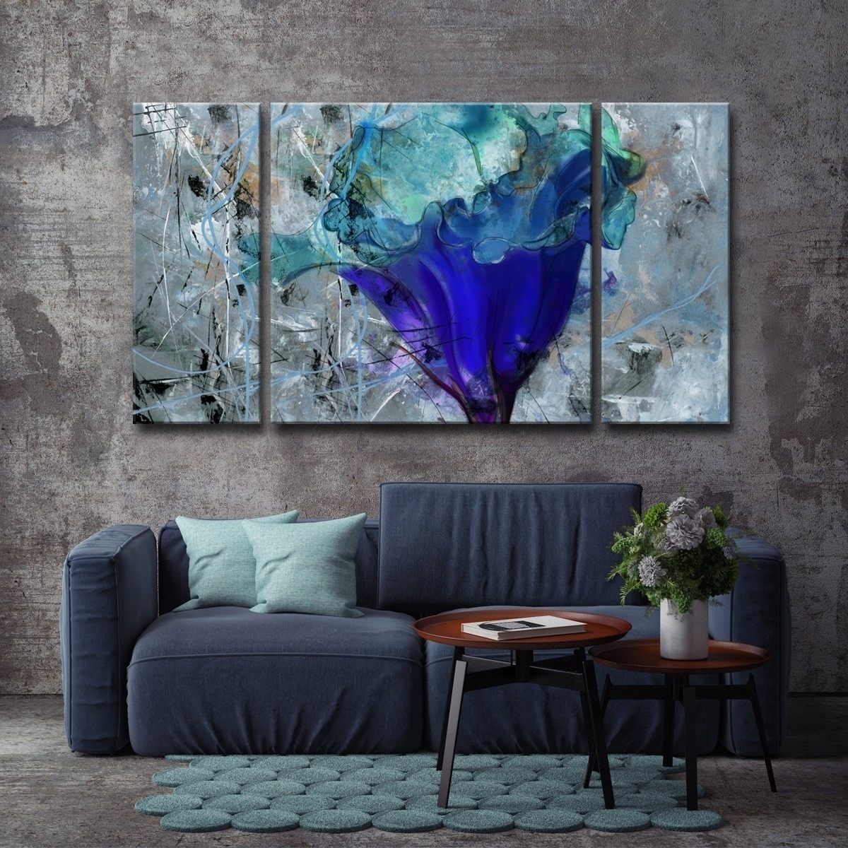 Shop Oliver & James Blue Flower Canvas Wall Art - Free Shipping On with regard to Overstock Wall Art (Image 12 of 20)