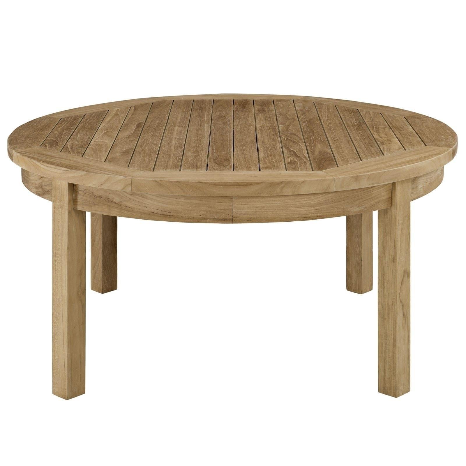 Shop Oliver & James Detaille Outdoor Round Teak Coffee Table - On throughout Round Teak Coffee Tables (Image 23 of 30)