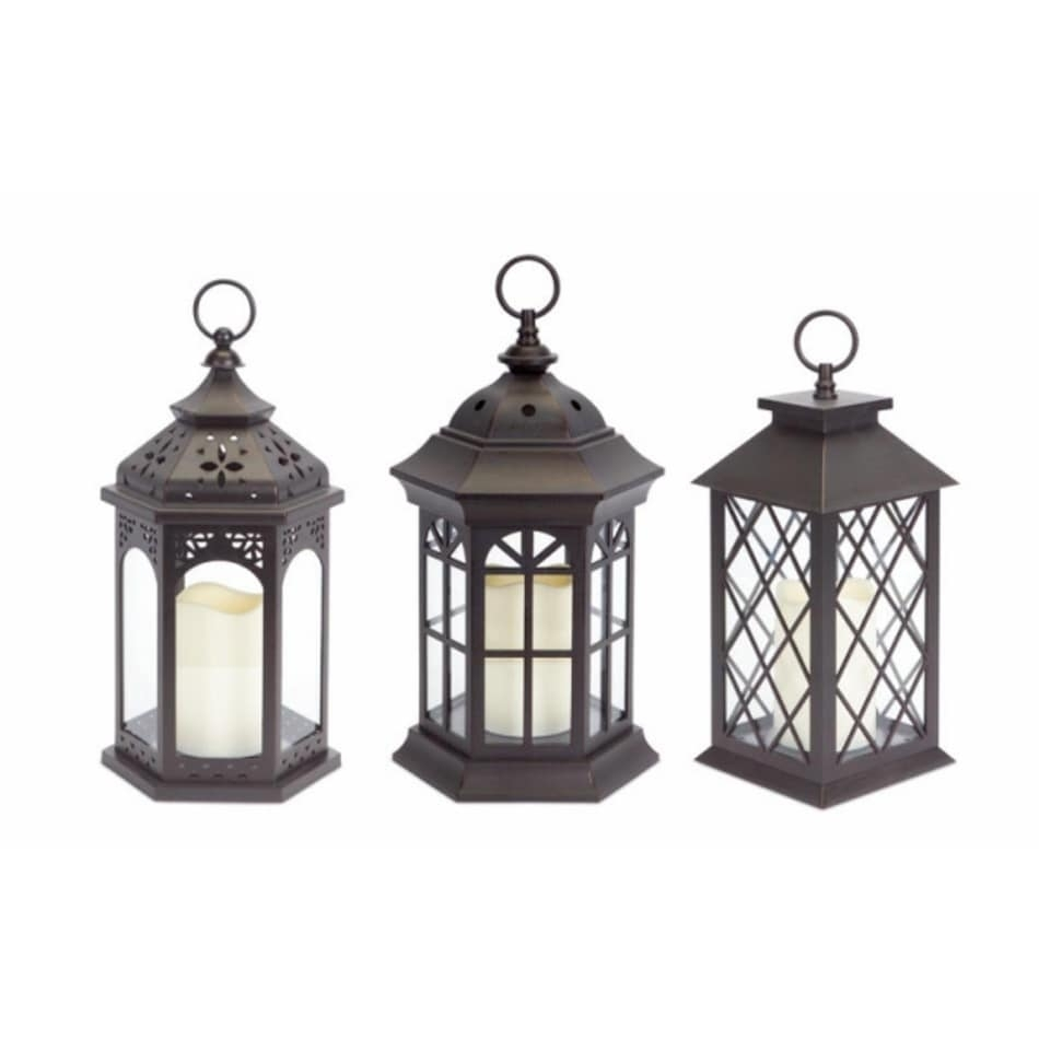 Shop Pack Of 3 Dark Brown Battery Operated Outdoor Led Candle regarding Outdoor Candle Lanterns (Image 15 of 20)