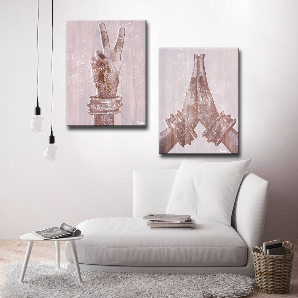 Shop 'peace And Namaste' Inspirational 2-Piece Canvas Wall Art in Overstock Wall Art (Image 7 of 20)