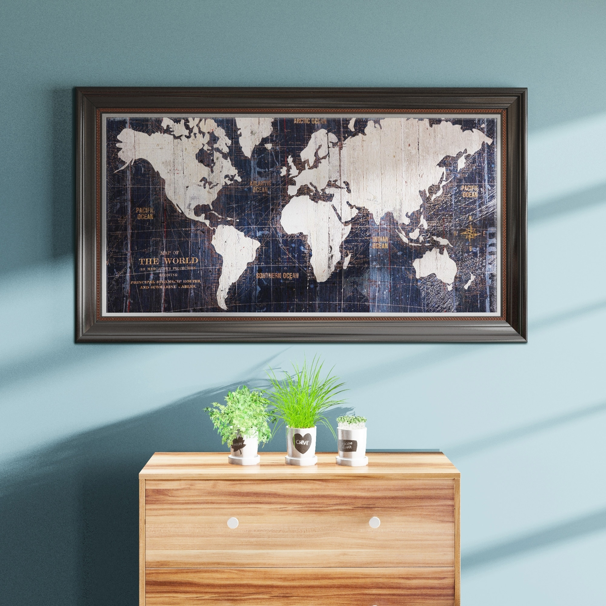 Shop Porch & Den Avery Tillmon 'old World Map Blue' Canvas Wall Art for Overstock Wall Art (Image 13 of 20)