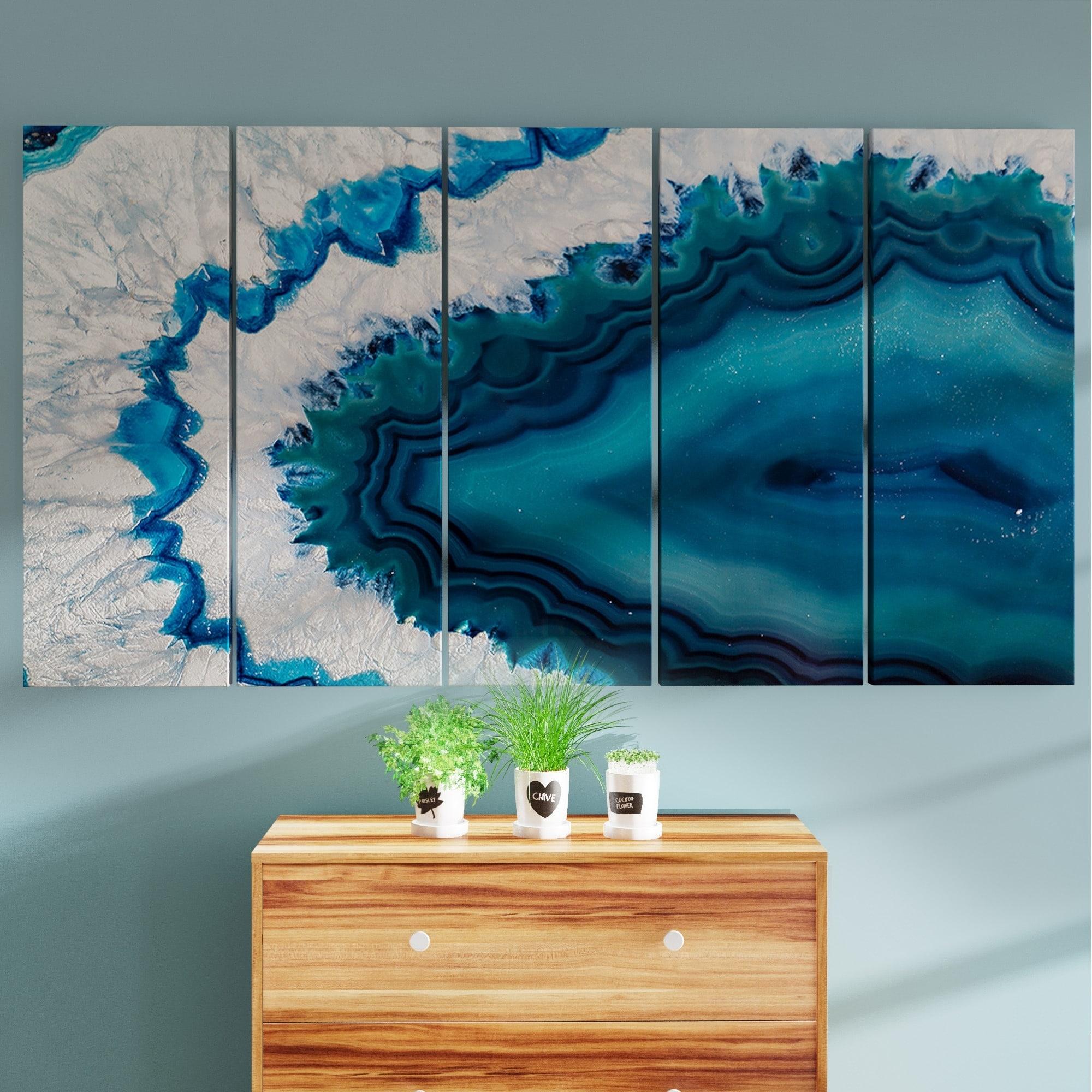 Shop Porch & Den Blue Brazilian Geode' Abstract Canvas Wall Art regarding Overstock Wall Art (Image 14 of 20)
