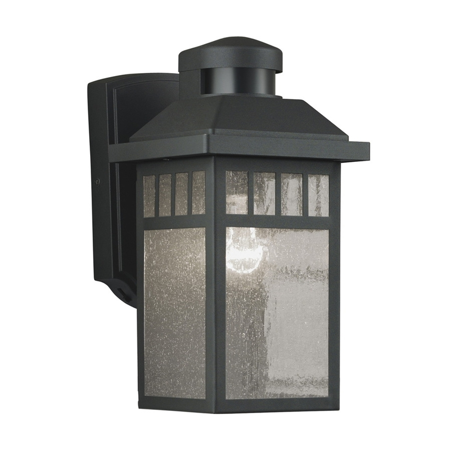 Shop Portfolio 11.5-In H Black Motion Activated Outdoor Wall Light pertaining to Outdoor Motion Lanterns (Image 20 of 20)