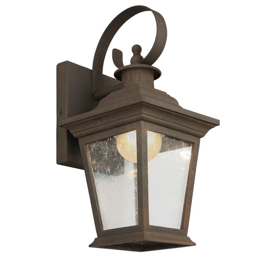 Shop Portfolio 13 In H Rust Dark Sky Led Outdoor Wall Light Energy For Outdoor Lanterns With Led Lights (View 10 of 20)