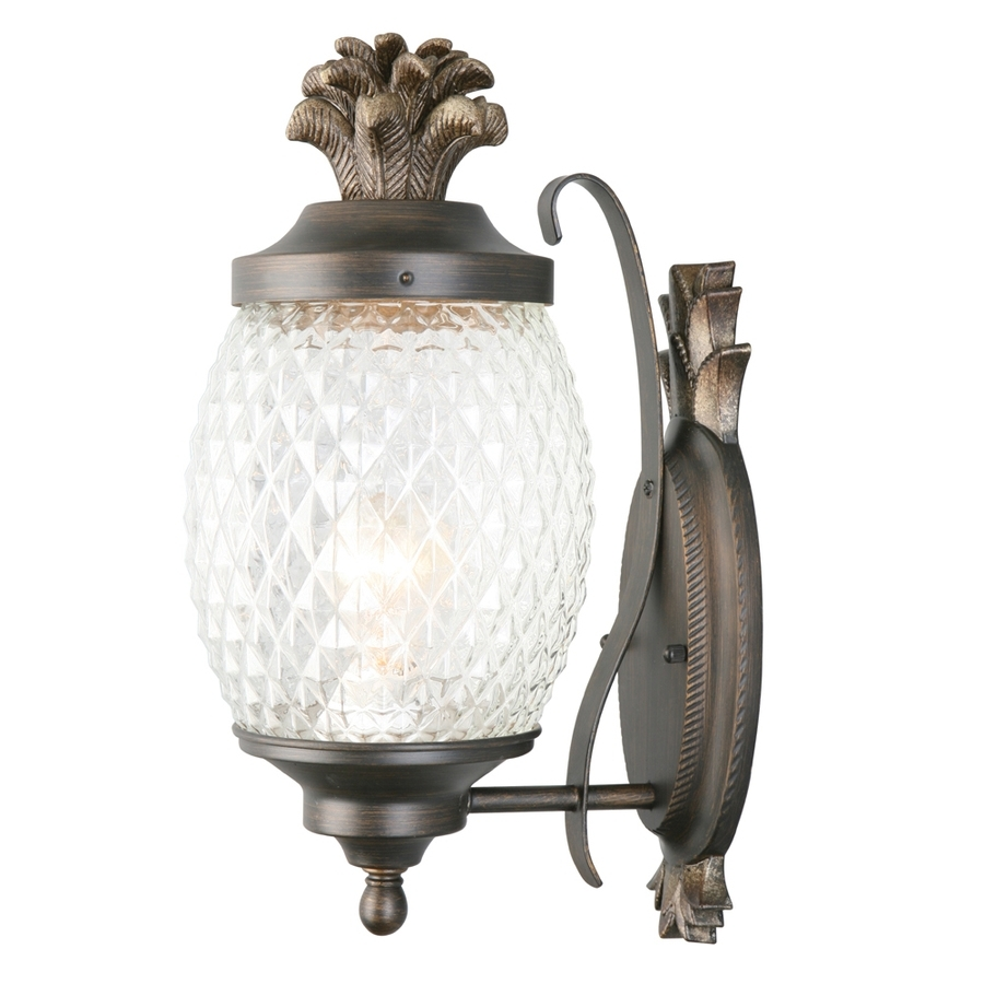 Shop Portfolio 15.25-In H Brushed Bronze Outdoor Wall Light At Lowes for Outdoor Pineapple Lanterns (Image 18 of 20)
