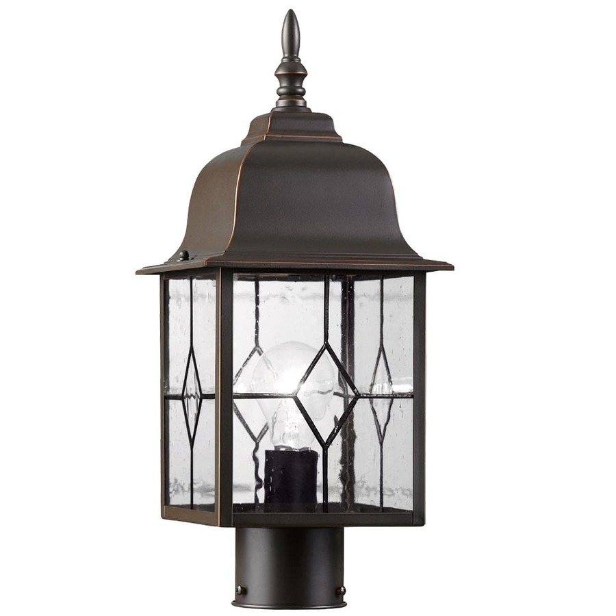 Shop Portfolio Litshire 17-In H Oil Rubbed Bronze Post Light At with Outdoor Oil Lanterns for Patio (Image 17 of 20)