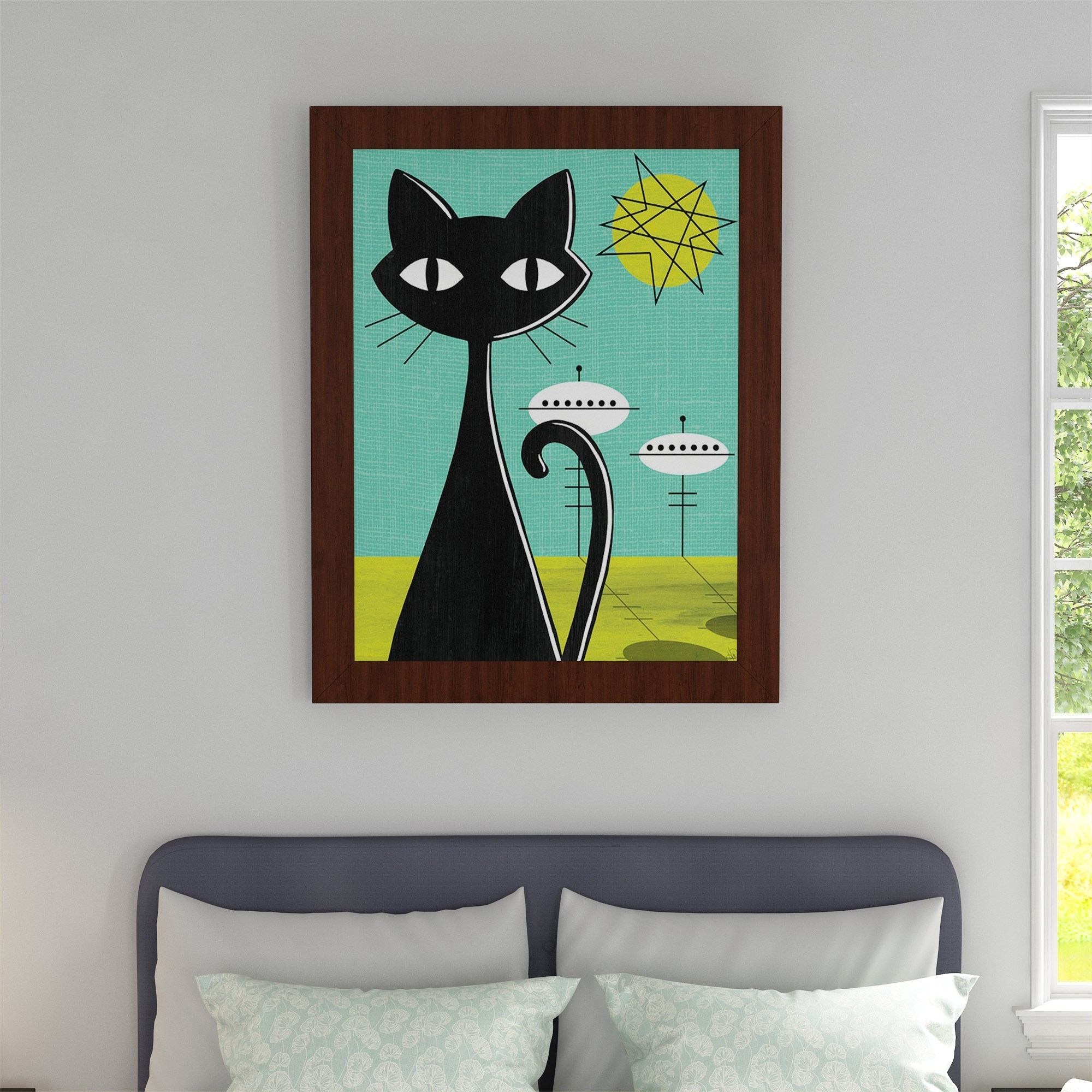 Shop 'retro Space Colony Cat' Framed Canvas Wall Art - On Sale inside Cat Canvas Wall Art (Image 19 of 20)