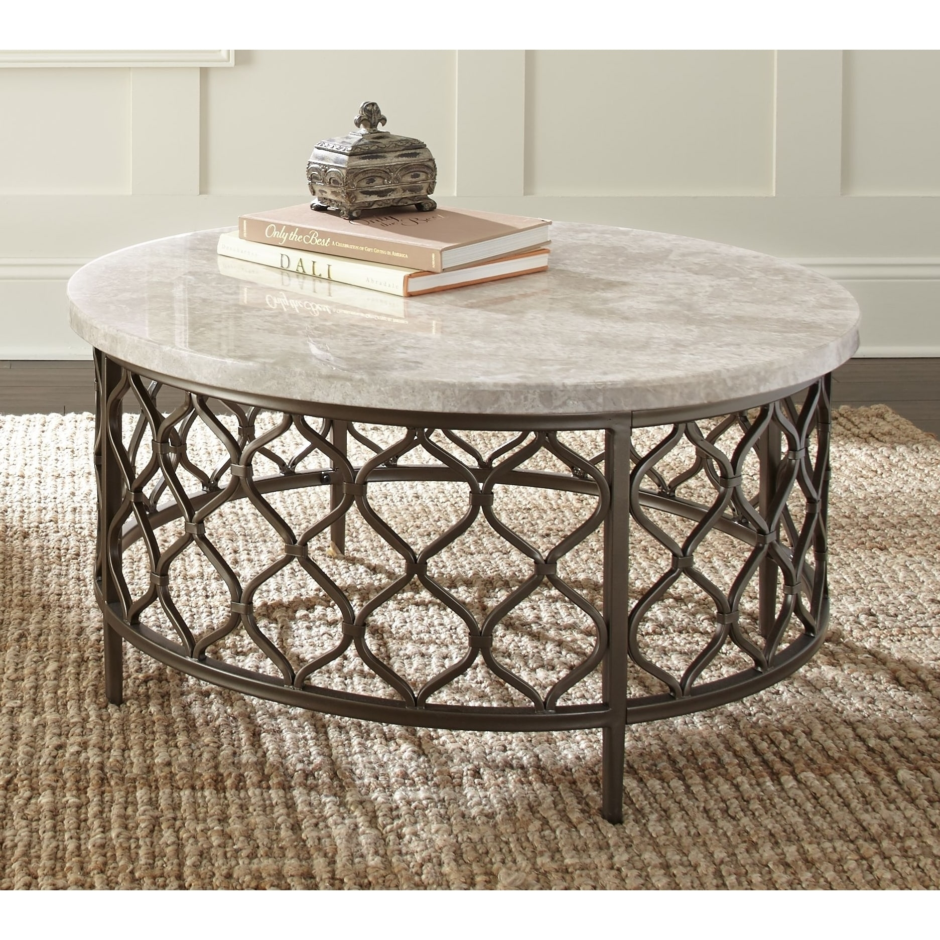 Shop Rockvale Stone Top Round Coffee Tablegreyson Living – Free Intended For Stone Top Coffee Tables (View 20 of 30)