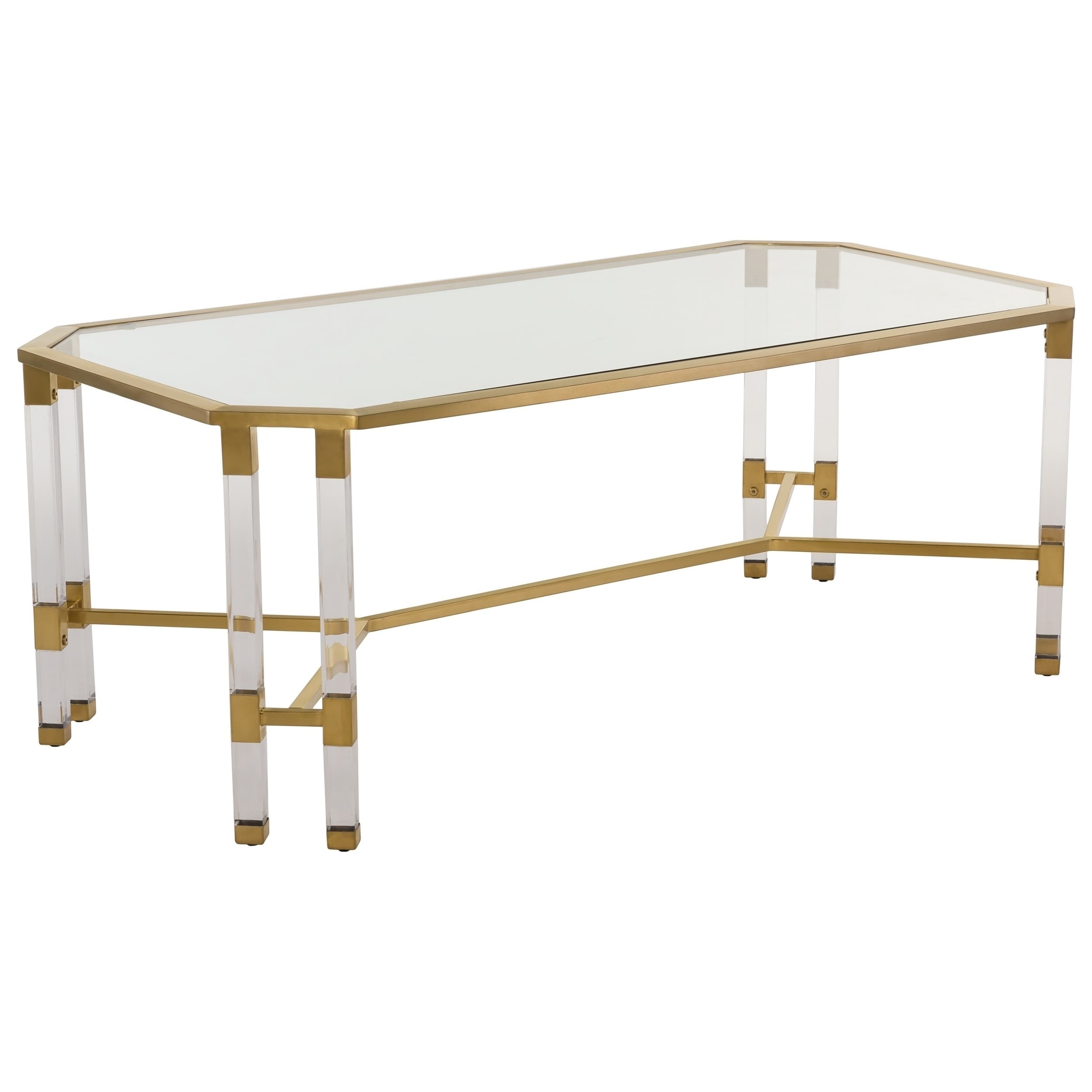 Shop Safavieh Couture High Line Collection Chandon Bronze Brass with regard to Acrylic Glass and Brass Coffee Tables (Image 27 of 30)