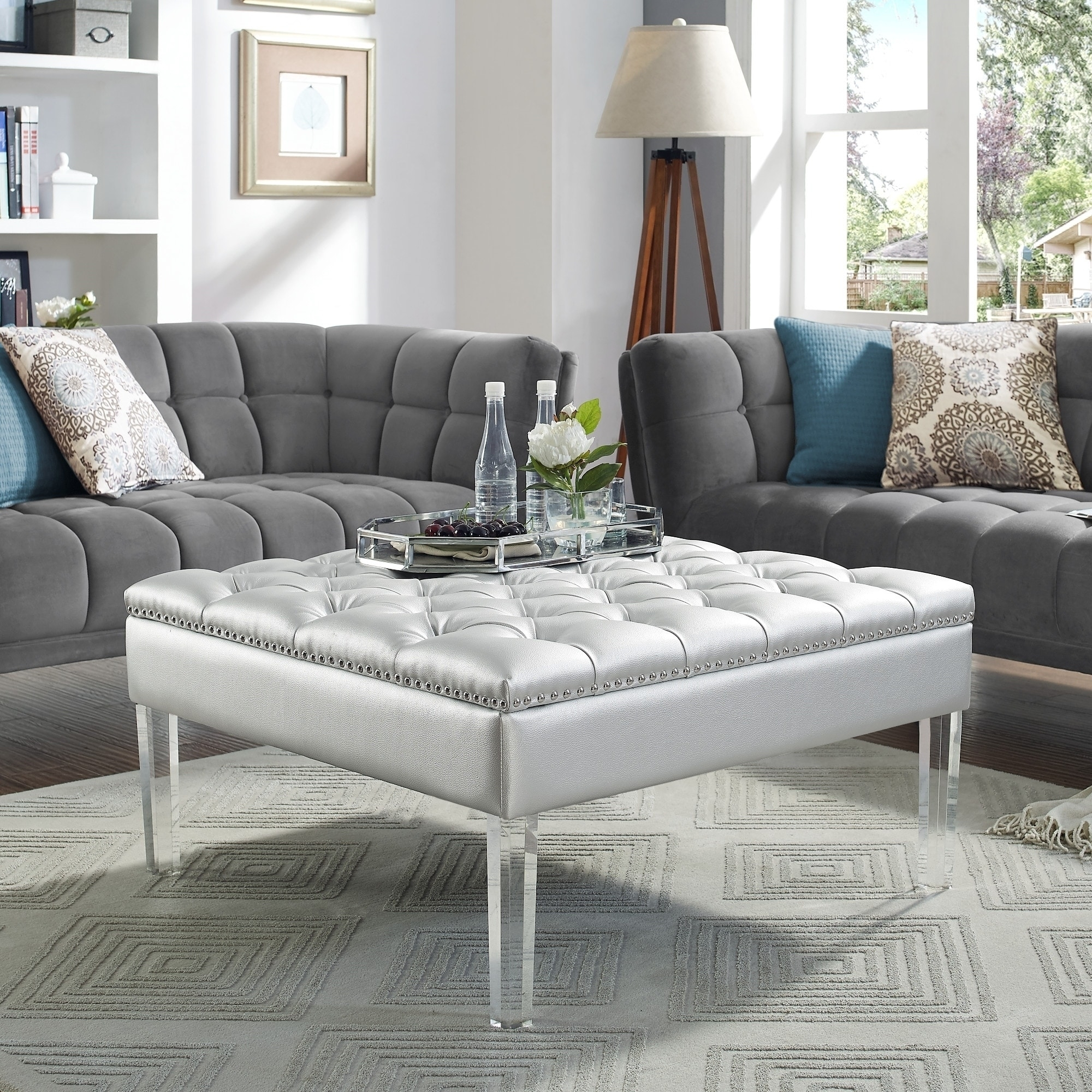 Shop Vivian Leather Oversized Button-Tufted Ottoman Coffee Table throughout Button Tufted Coffee Tables (Image 24 of 30)