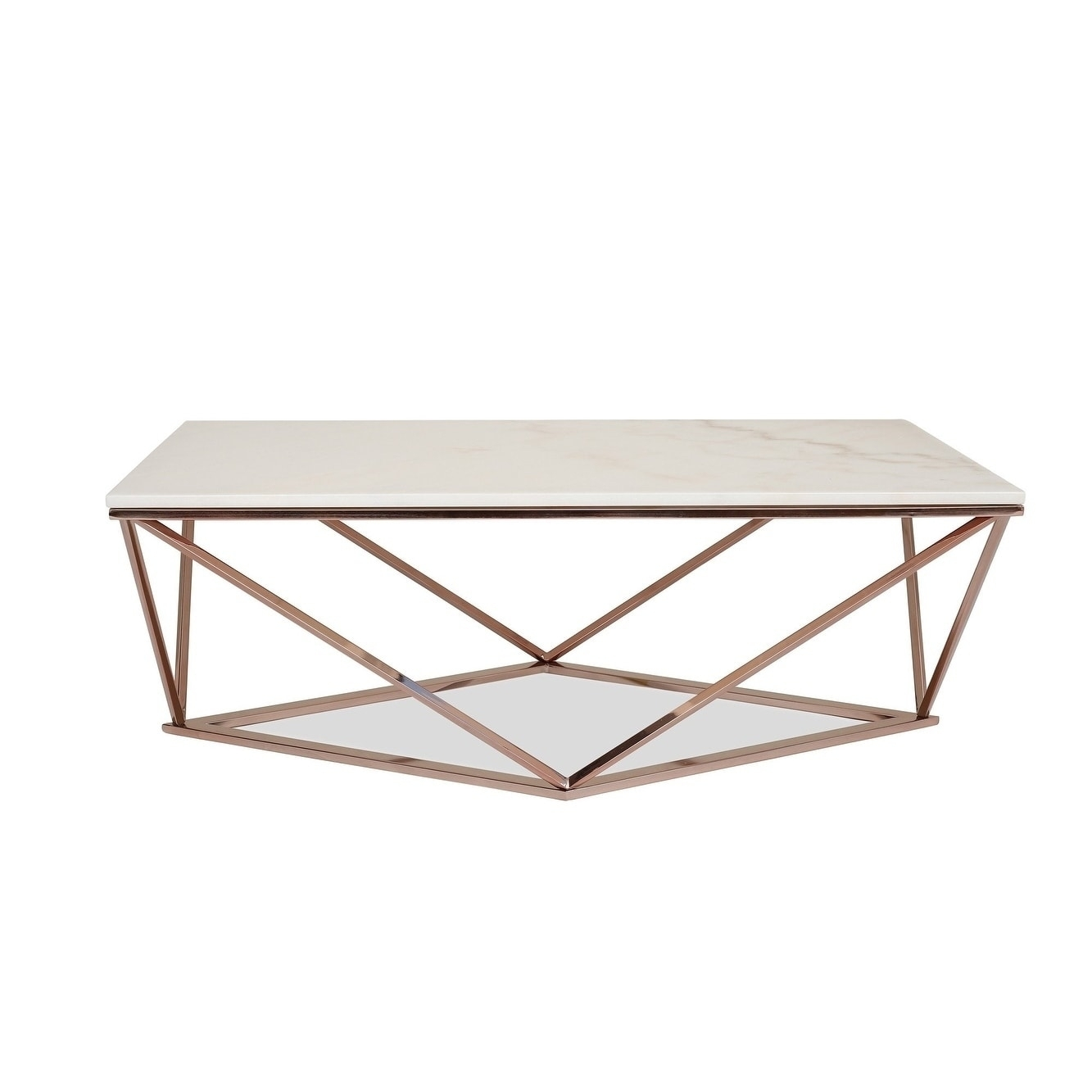 Shop Whitney White Marble Coffee Table - Modern Gold Coffee Tables with Large Slab Marble Coffee Tables With Antiqued Silver Base (Image 26 of 30)