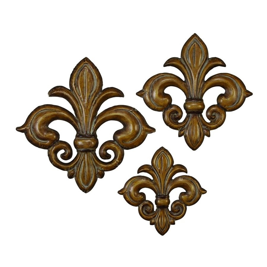Shop Woodland Imports 3-Piece W X H Frameless Metal Fleur De Lis throughout Fleur De Lis Wall Art (Image 17 of 20)