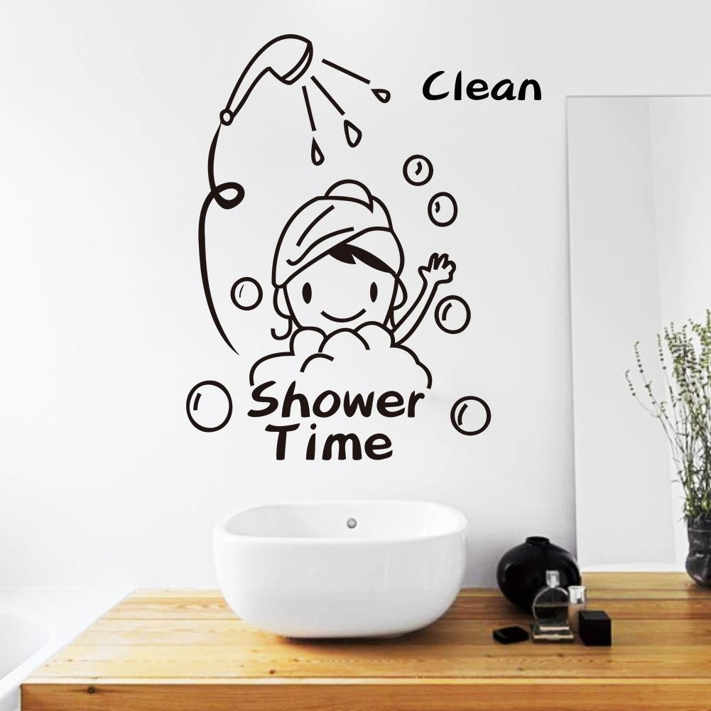 Shower Time Bathroom Wall Decor Stickers Lovely Child Removable Throughout Wall Art Stickers (View 8 of 20)