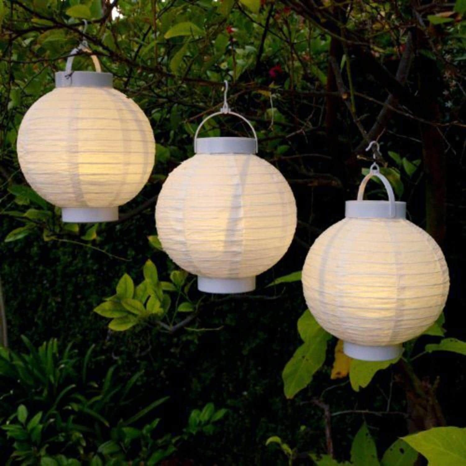 Sienna Set Of 3 Battery Operated Led Lighted White Fabric Outdoor with regard to Outdoor Chinese Lanterns for Patio (Image 19 of 20)