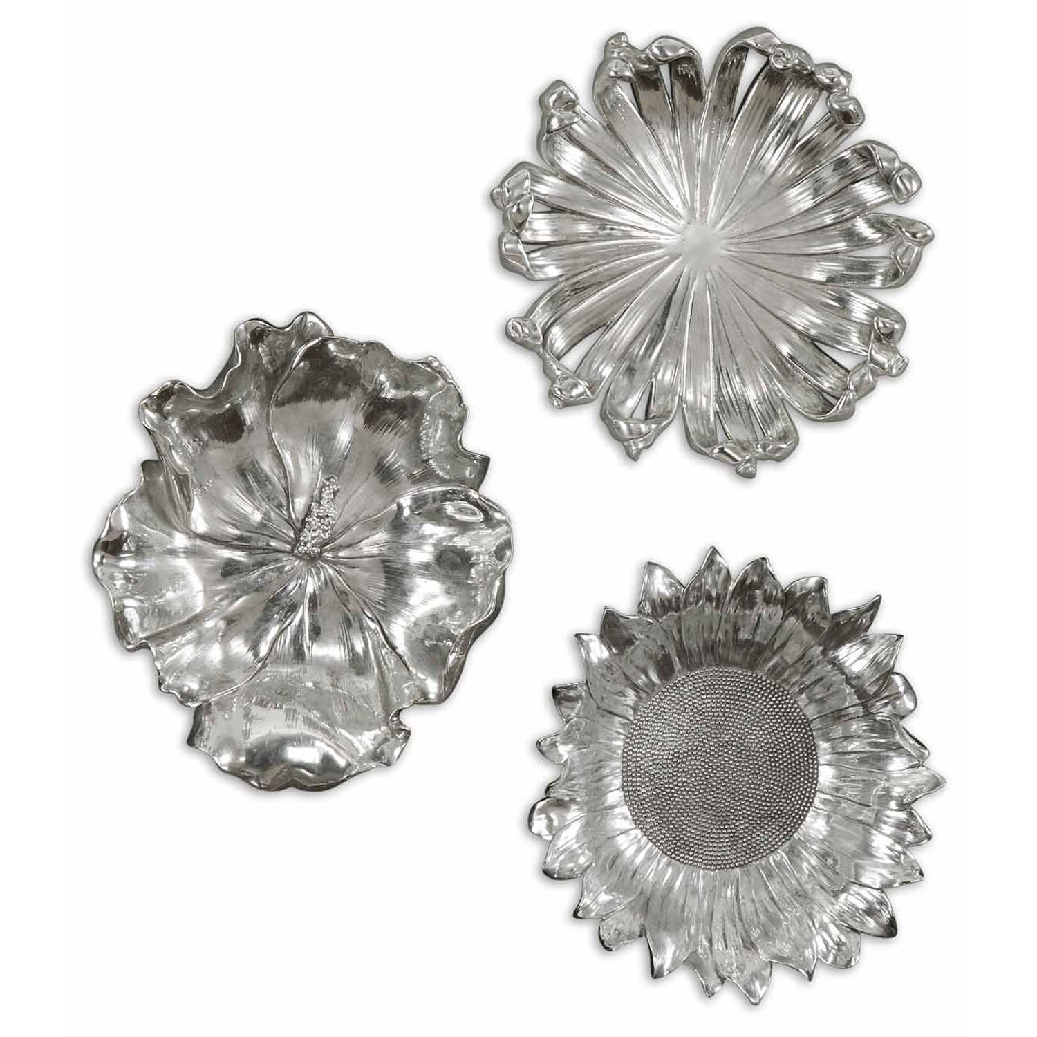Silver Flowers Metal Wall Art, Set Of Three Uttermost Wall Sculpture With Regard To Silver Wall Art (View 6 of 20)