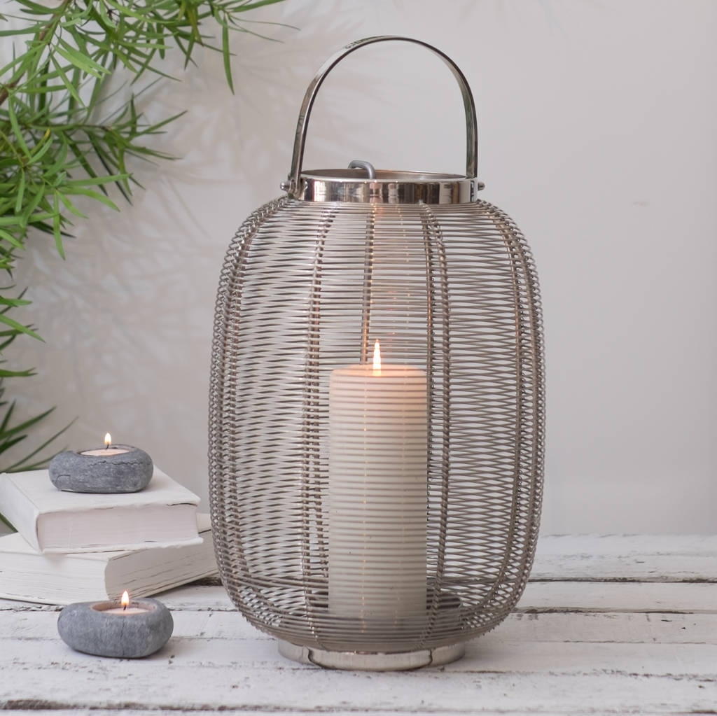 Silver Hurricane Lantern Indoor And Outdoorza Za Homes Within Outdoor Storm Lanterns (View 5 of 20)
