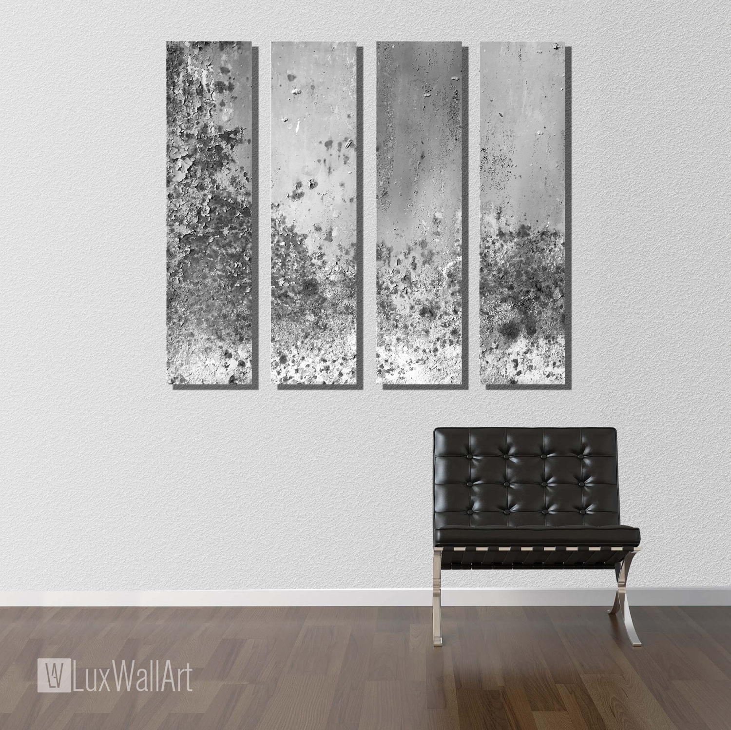 Silver Large Vertical Thin Panel Metal Abstract Wall Art with regard to Abstract Wall Art (Image 20 of 20)