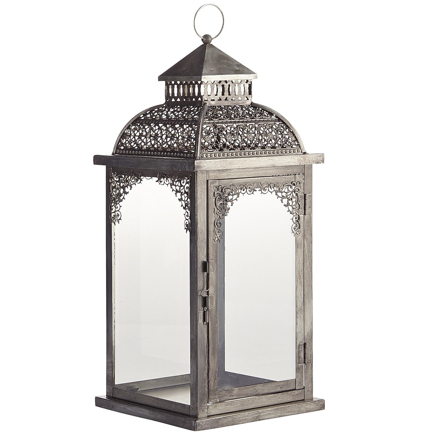 Silver Pierced Lanterns – Wrought Iron – Outdoor | *decor > Candles For Silver Outdoor Lanterns (View 16 of 20)