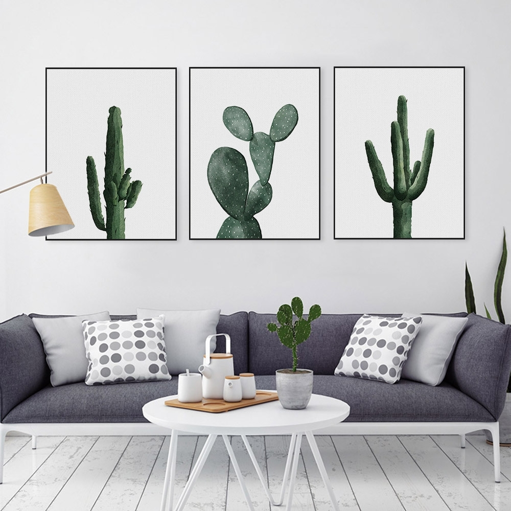 Simple Pastoral Green Cactus Wall Art Canvas Print Poster, Wall throughout Cactus Wall Art (Image 16 of 20)