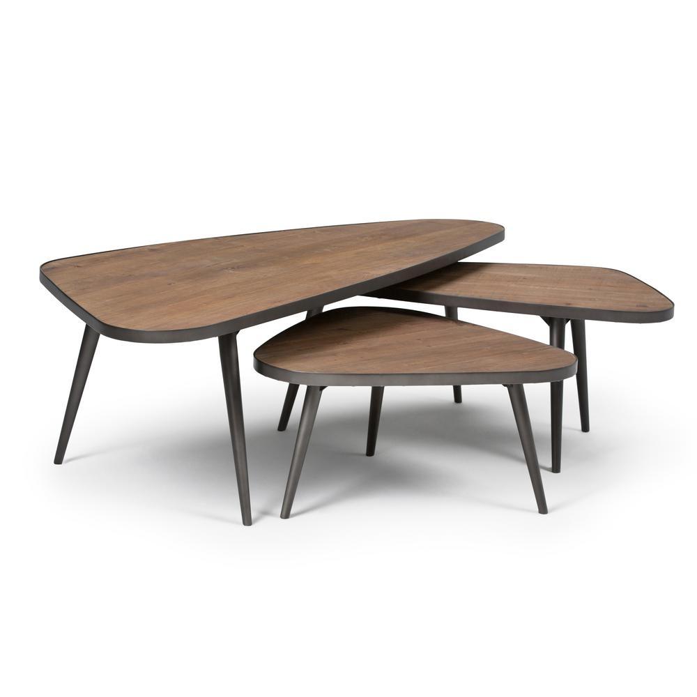 Simpli Home Aubrey Distressed Wood 3-Piece Nesting Coffee Table Set regarding Set of Nesting Coffee Tables (Image 27 of 30)
