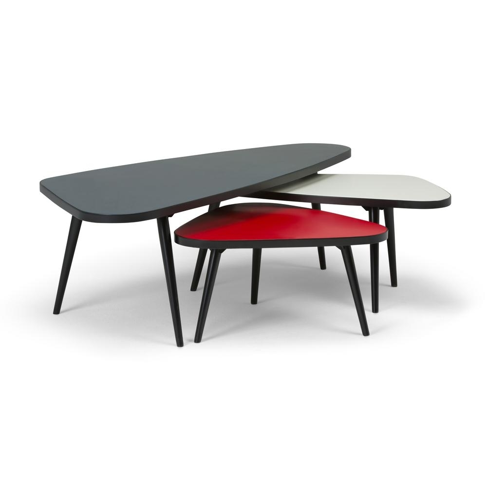 Simpli Home Aubrey Midnight Black, Red, White 3-Piece Nesting Coffee within Set Of Nesting Coffee Tables (Image 28 of 30)