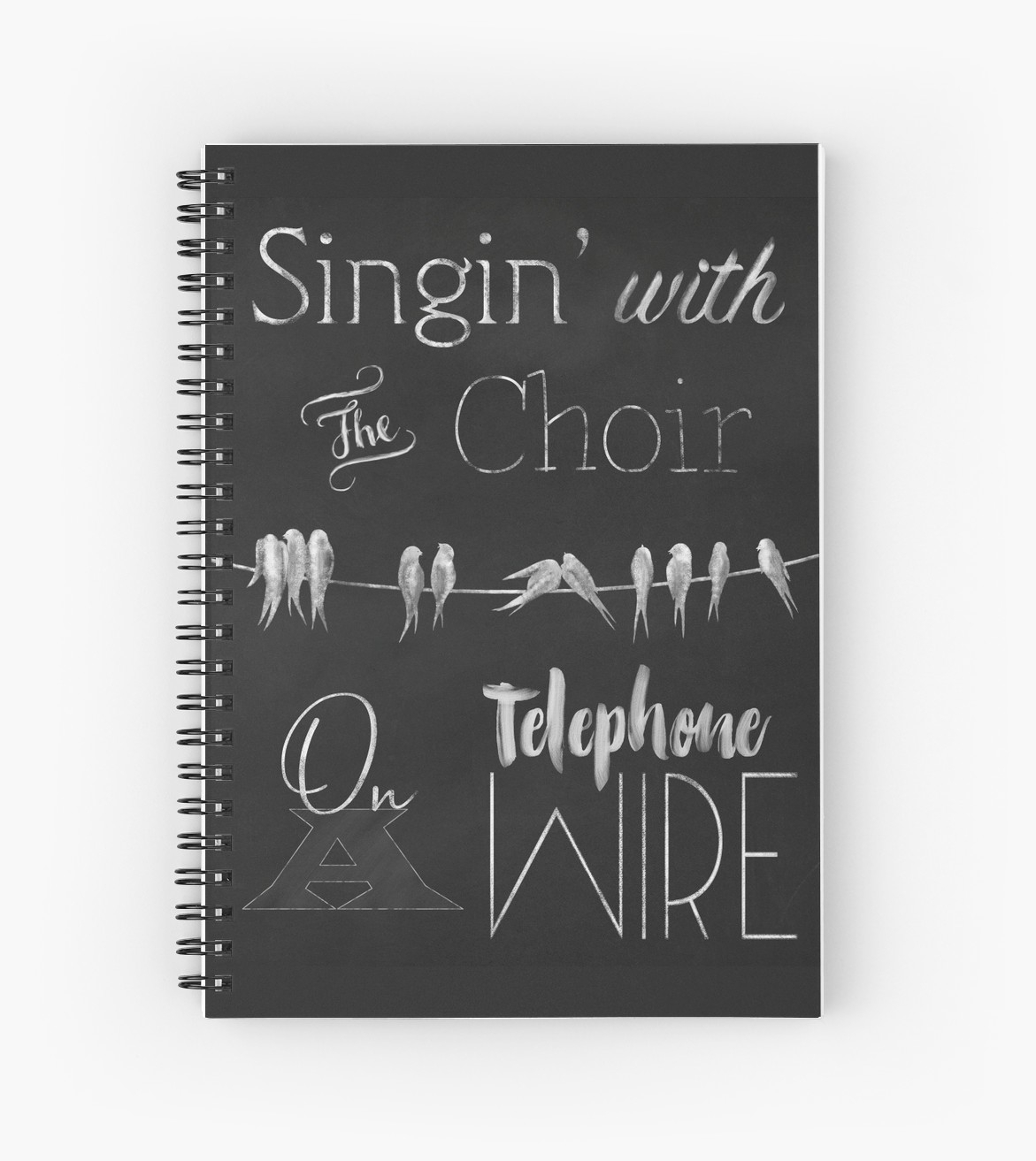 """Singing Birds On A Wire Chalkboard Wall Art"""" Spiral Notebooks intended for Chalkboard Wall Art (Image 19 of 20)"""
