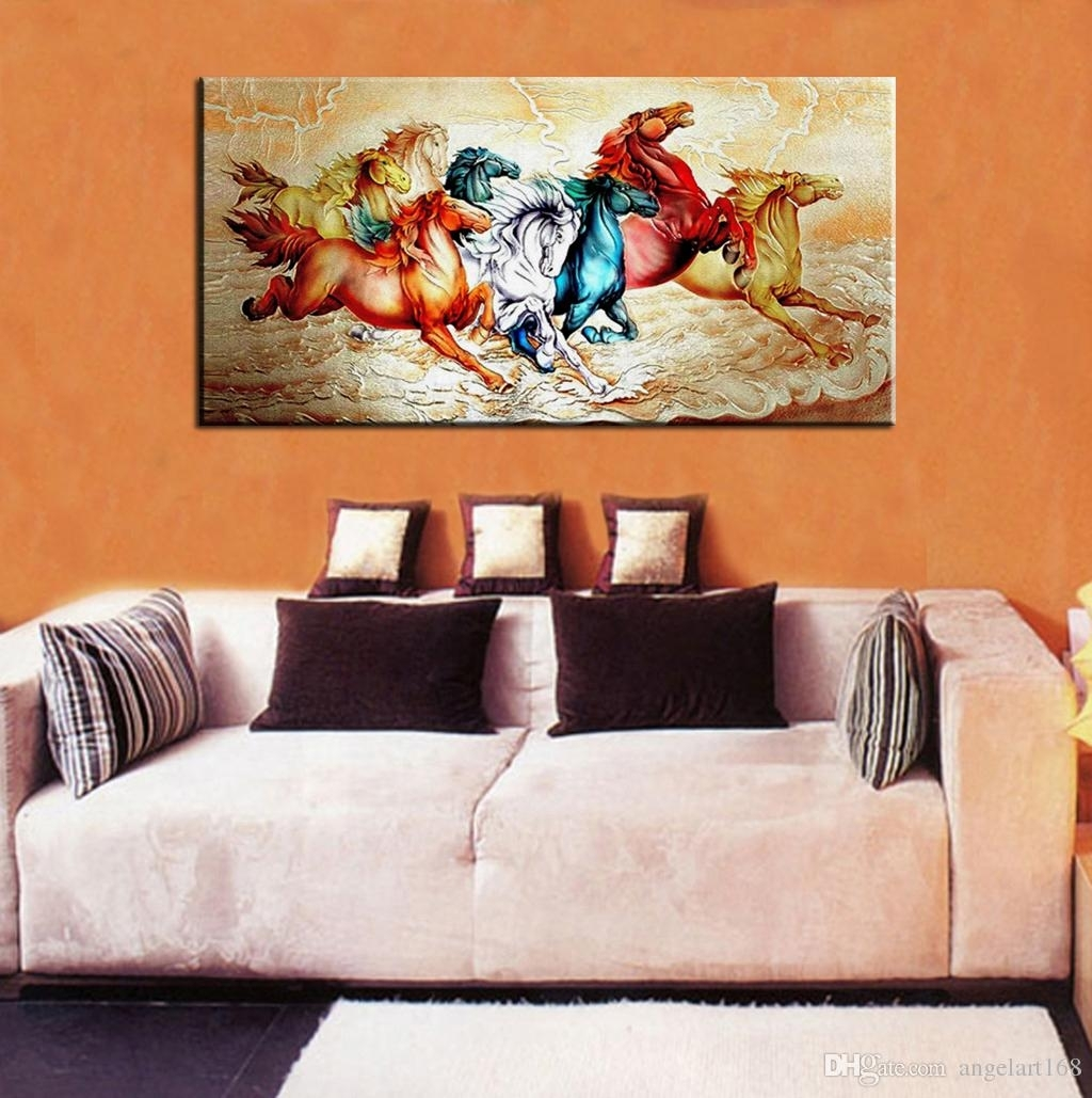 Single Unframed Eight Horses Running Abstract Animal Painting Wall throughout Living Room Painting Wall Art (Image 17 of 20)