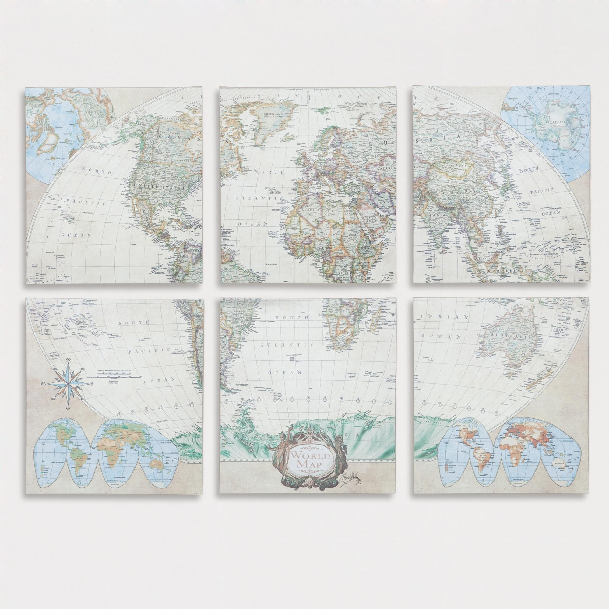 Six Piece World Map Set, Set Of 6: Multi/natural – Canvas – Large With Regard To World Market Wall Art (View 8 of 20)