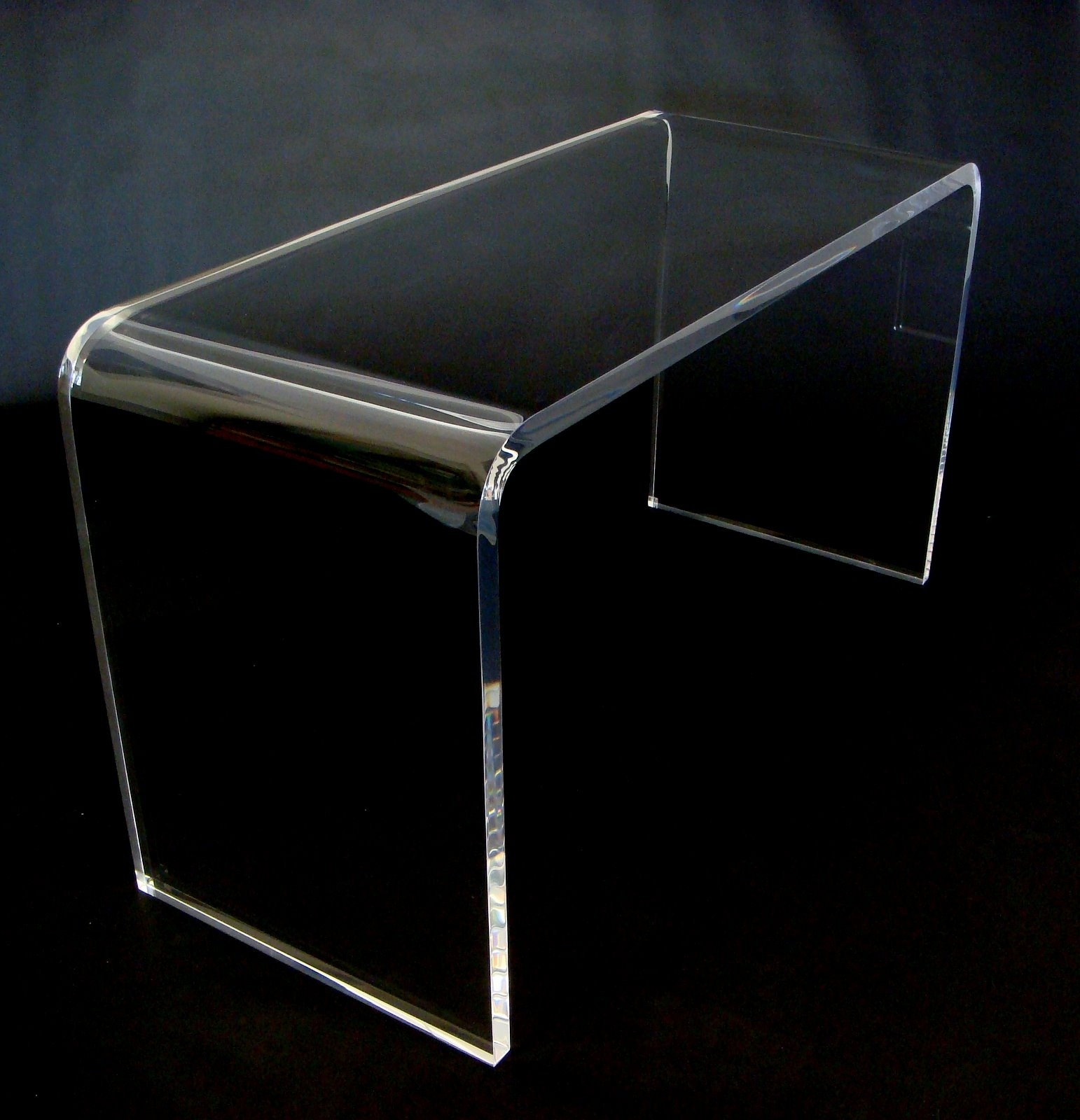 Small Glass Waterfall Coffee Table Acrylic Table Square Waterfall inside Square Waterfall Coffee Tables (Image 19 of 30)