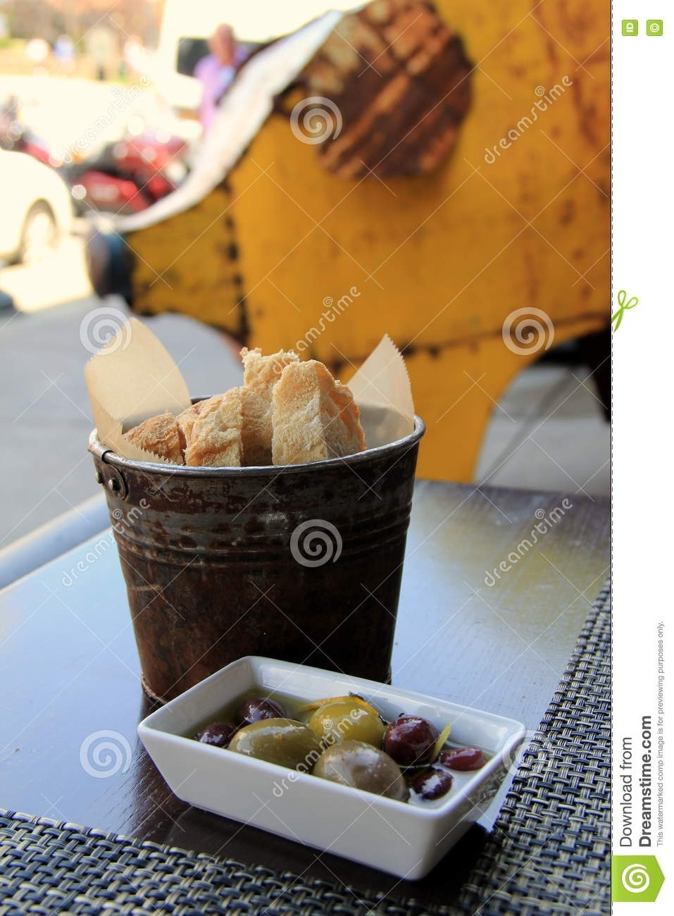 Small Metal Bucket With Fresh Bread With Side Of Delicious Olives with regard to Fresh Cut Side Tables (Image 24 of 30)