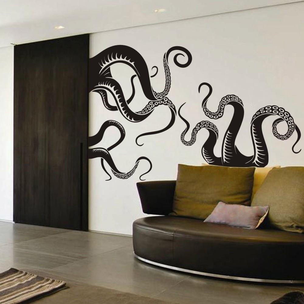 Small Size Octopus Tentacles Vinyl Wall Art Sea Monster Kraken Squid with Octopus Wall Art (Image 18 of 20)