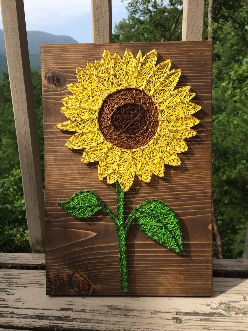 Small Sunflower String Art Sign, Sunflower Wall Art, Flower Decor pertaining to Sunflower Wall Art (Image 13 of 20)