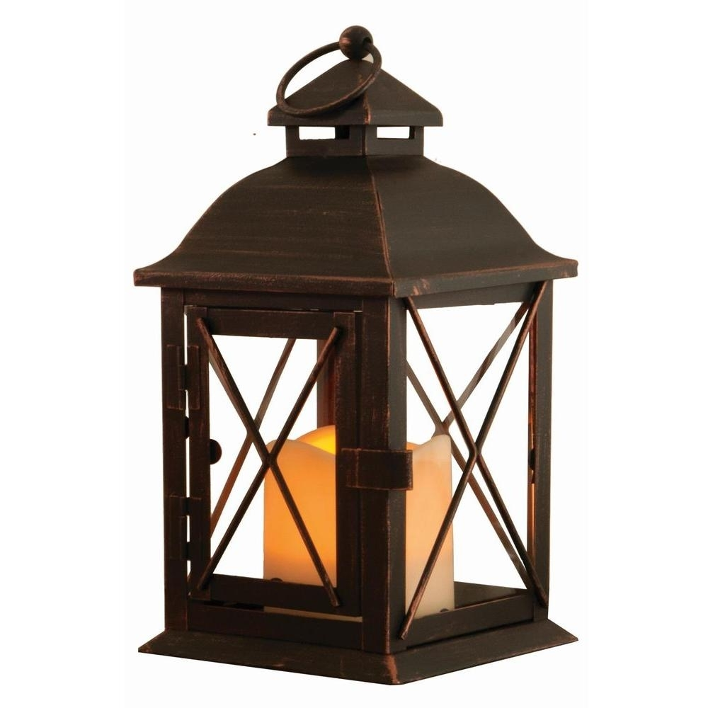 Smart Design Aversa 10 In. Antique Brown Led Lantern With Timer inside Outdoor Lanterns With Battery Candles (Image 17 of 20)