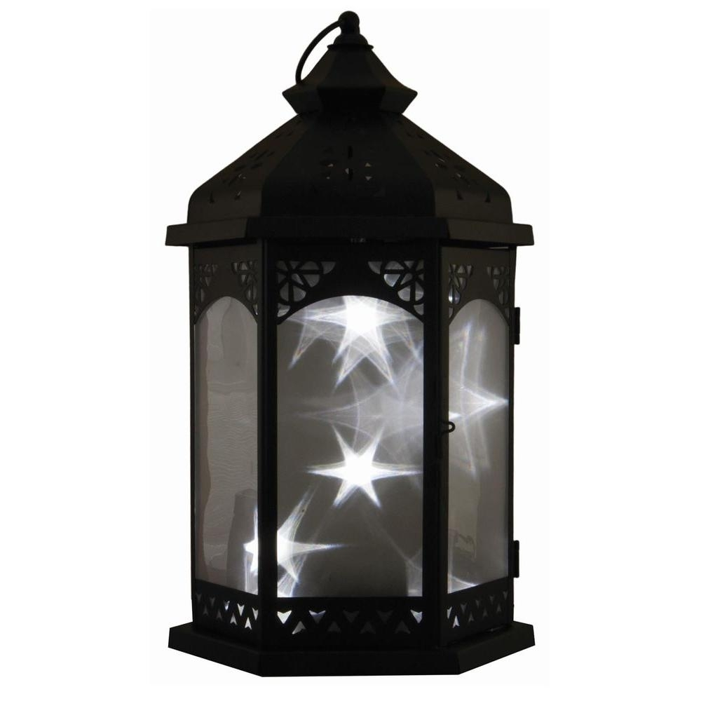 Smart Design Baltimore Star 16 In. Black Integrated Led Lantern With with Outdoor Lanterns With Timers (Image 18 of 20)
