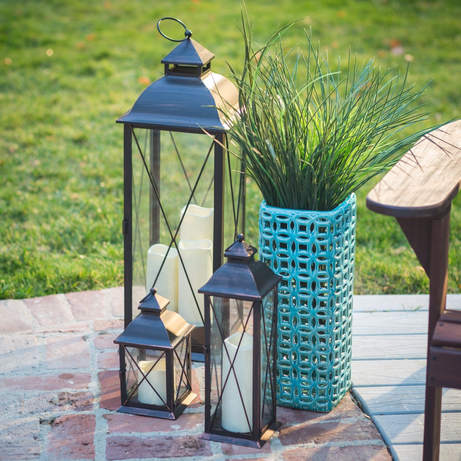 Smart Design Metal Lanterns With Led Candles – Set Of 3 – Walmart Intended For Set Of 3 Outdoor Lanterns (View 19 of 20)