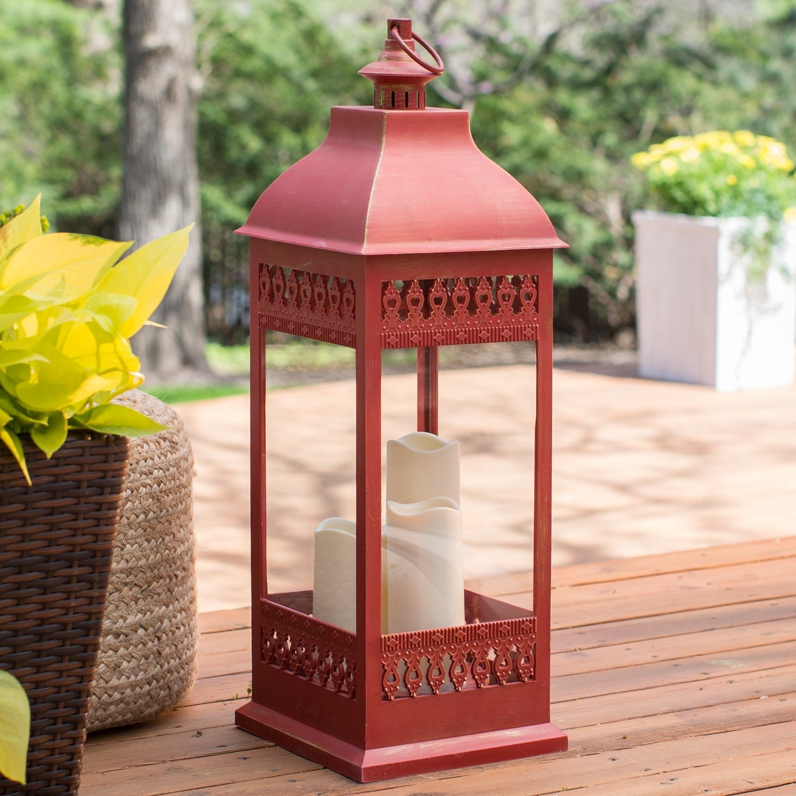Smart Design San Nicola Lantern With Led Candles | Hayneedle intended for Outdoor Rustic Lanterns (Image 18 of 20)