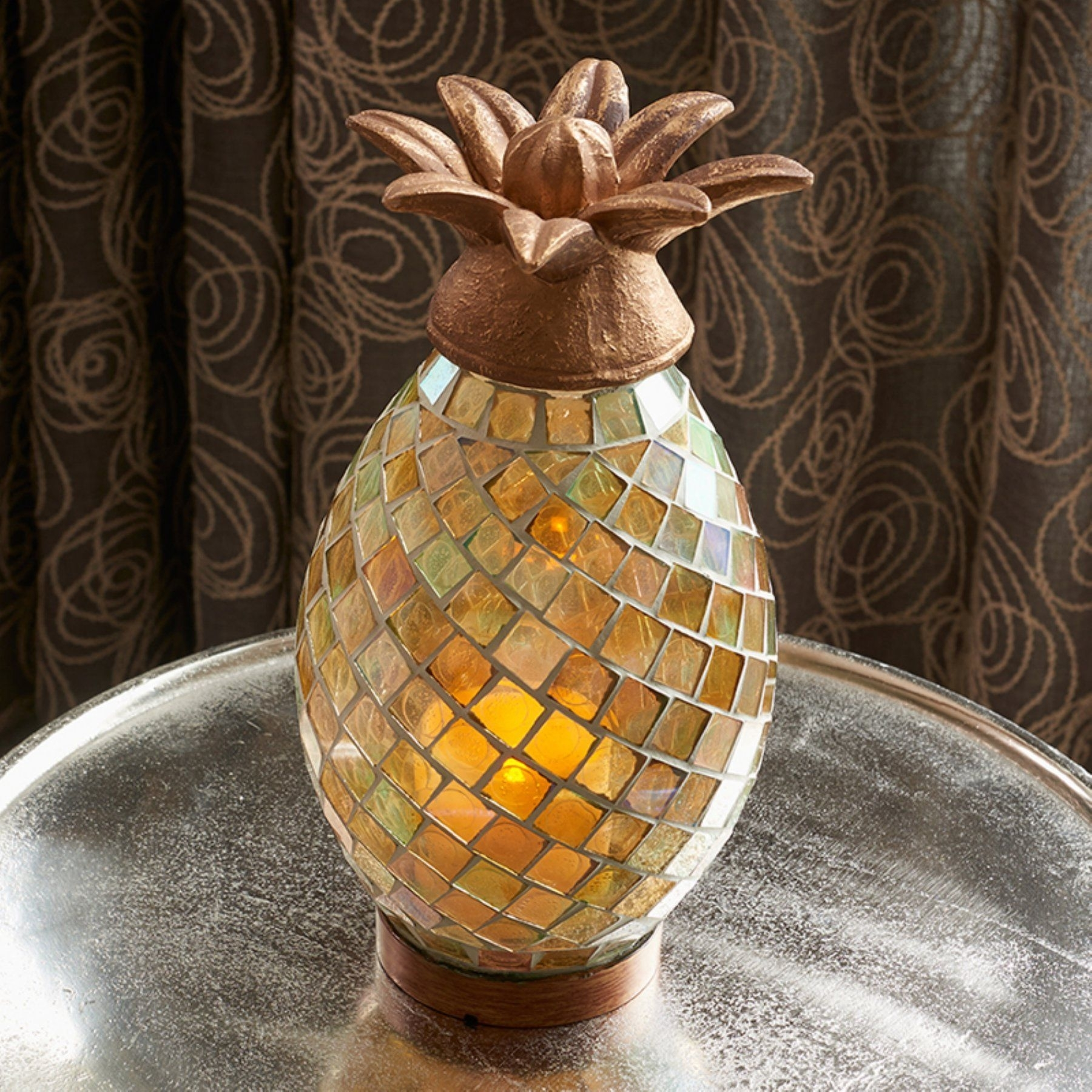 Smart Living Ananas Glass Mosaic Pineapple Indoor/outdoor Led Candle regarding Outdoor Pineapple Lanterns (Image 19 of 20)