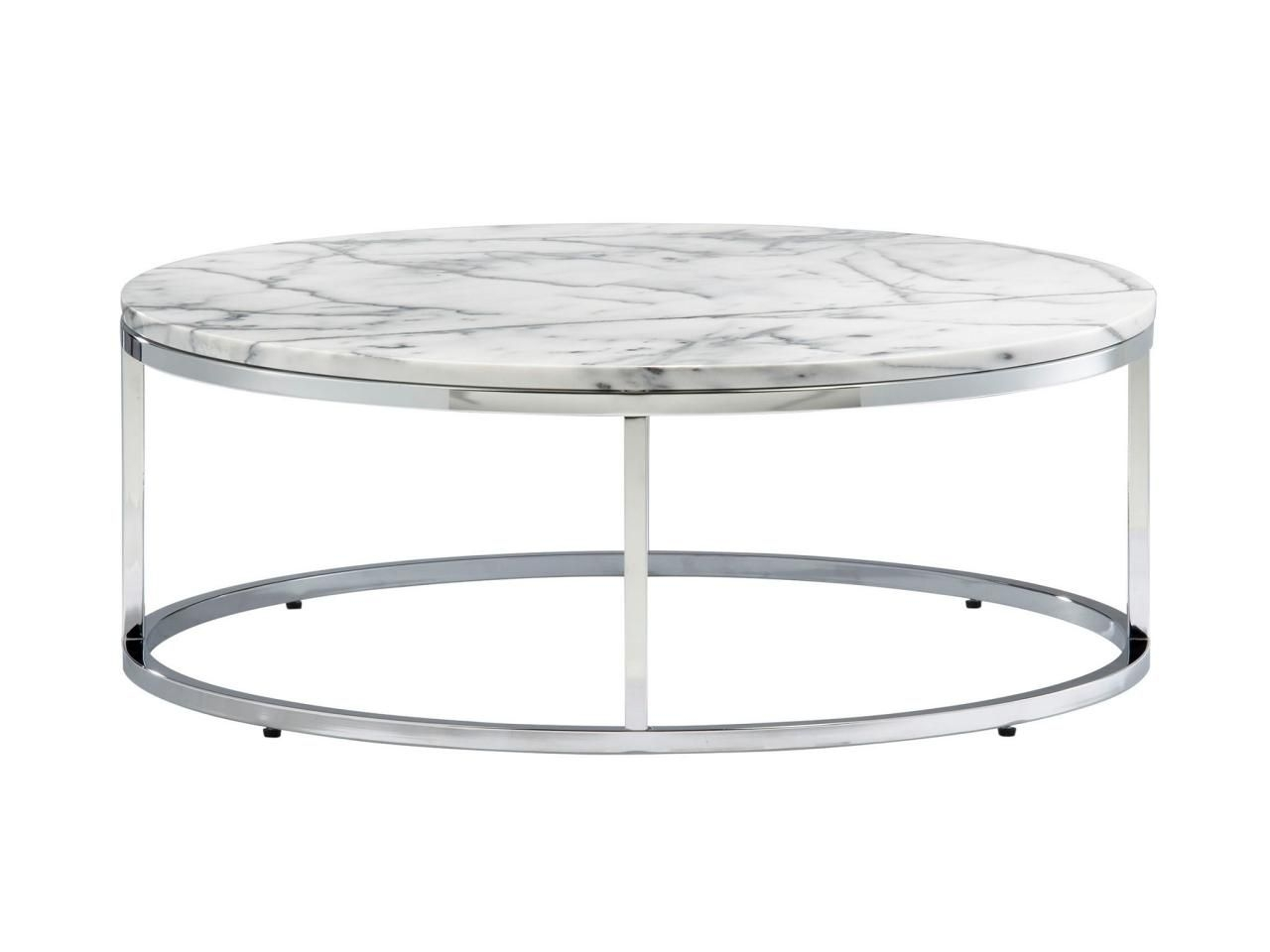 "Smart Round 12 1/4""h X 33""-Diameter Marble And Steel Coffee Table within Smart Round Marble Top Coffee Tables (Image 26 of 30)"