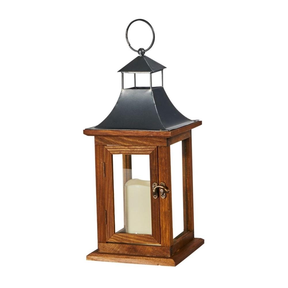 Smart Solar Portland 14 In. Led Candle Wooden Lantern-84086-Lc - The pertaining to Outdoor Wood Lanterns (Image 14 of 20)