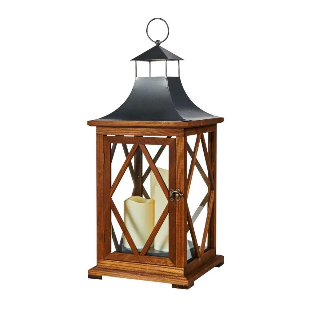 Smart Solar Portland 22 In. Triple Led Candle Wooden Lantern-80077 intended for Outdoor Lanterns With Flameless Candles (Image 18 of 20)