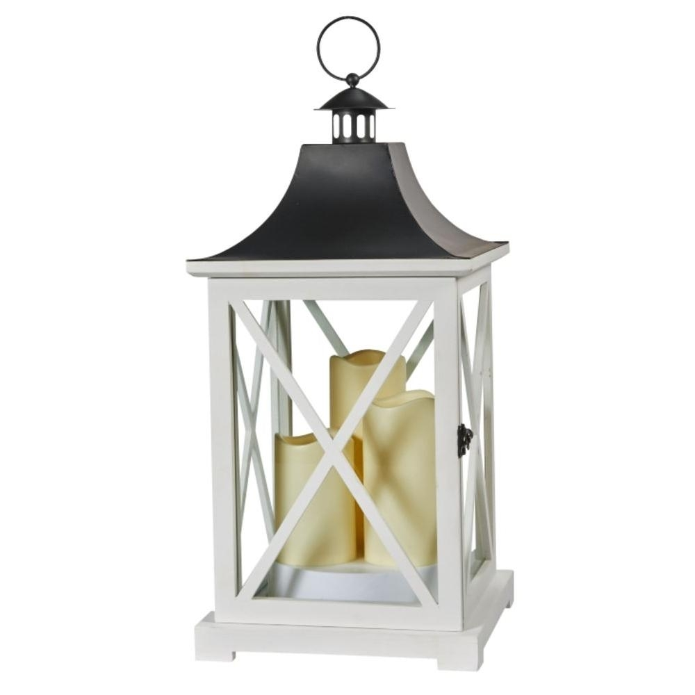 Smart Solar York 20 In. Triple Led Candle Wooden Lantern-80076 - The within Outdoor Lanterns With Led Candles (Image 20 of 20)