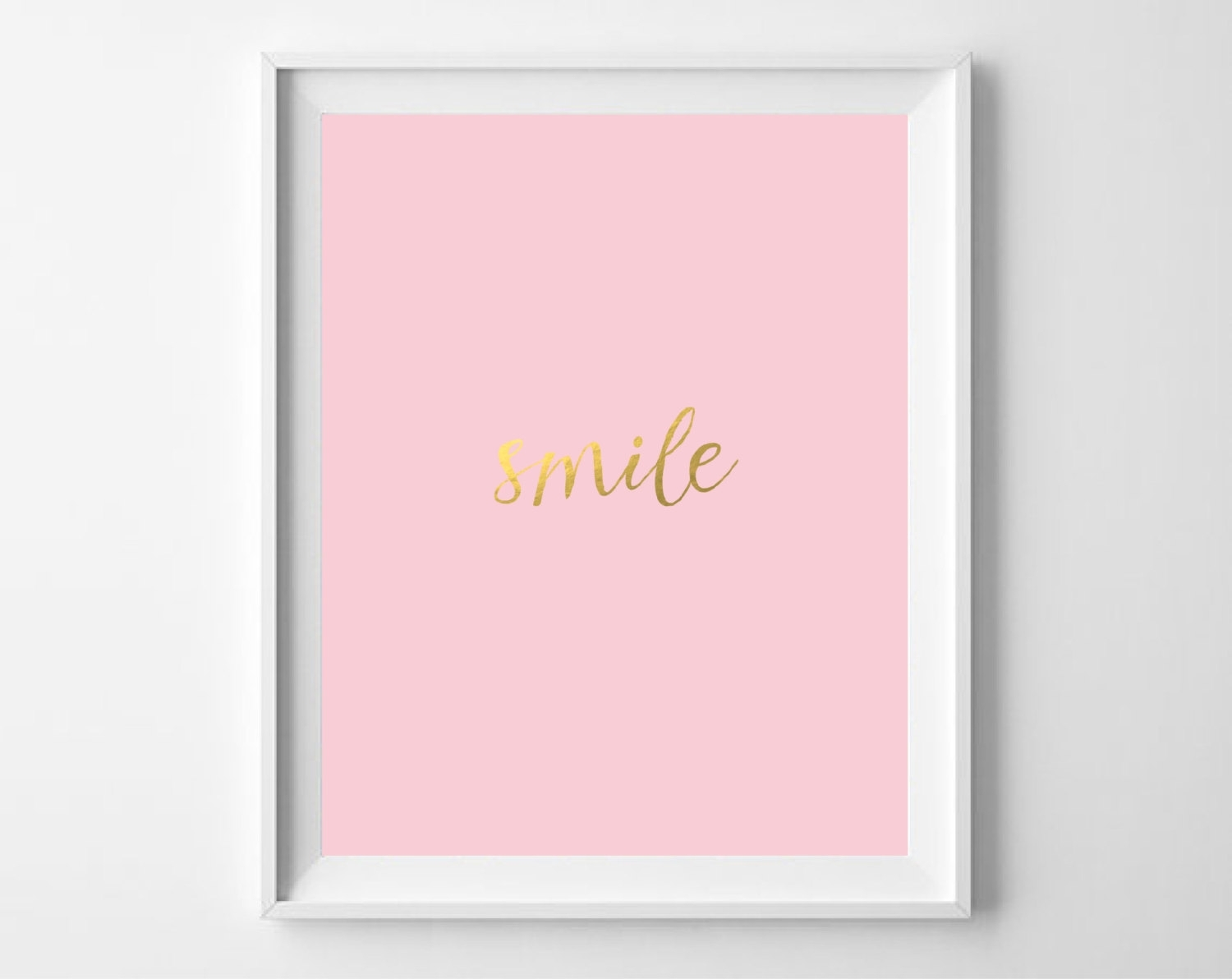 Smile Gold Foil Print Printable Blush Pink Gold Wall Art | Etsy intended for Pink Wall Art (Image 20 of 20)